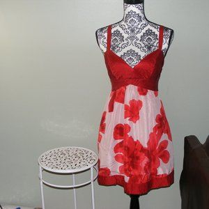 Guess Red and White Floral Dress Size 9 EUC